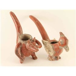 Lot of 2 Animal Effigy Pipes