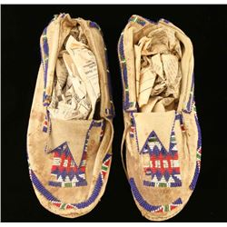 Plains Indian Leather Beaded Moccasins
