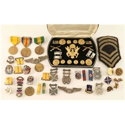 Collection of US Pins, Medals, Patches