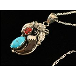 Silver, Coral & Turquoise Pendant with Bear Claw