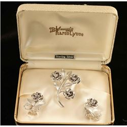 Vintage Sterling Silver Rose Jewelry Set