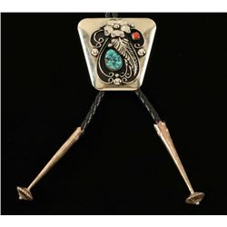 Turquoise & Coral Bolo Tie