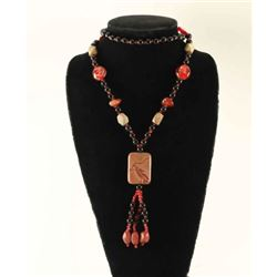 Onyx, Agate, & Picture Jasper Beaded Necklace