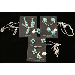 Lot of 3 Turquoise & Silver Navajo Jewelry Sets