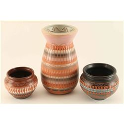 Lot of 3 Incised Carved Pots
