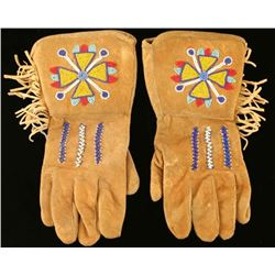 Canadian Indian Beaded Leather Gauntlets