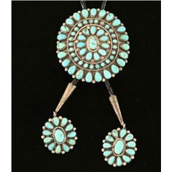 Navajo Turquoise Cluster Bolo Tie
