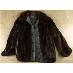 Ladies Leather Coat with Mink Fur