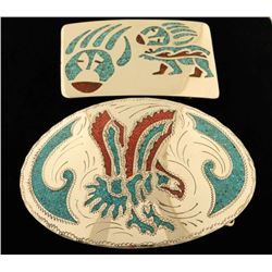 Lot of 2 Inlaid Silver Belt Buckles