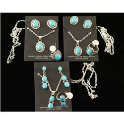 Three Sets of Turquoise & Silver Navajo Jewelry