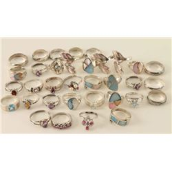 Large Lot of Sterling Rings