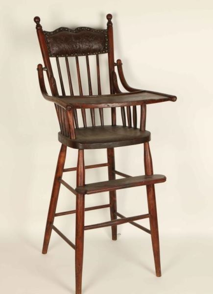 Image 1 : Antique Wooden High Chair ... - Antique Wooden High Chair