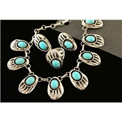 Natural Turquoise Bear Paw Necklace Set