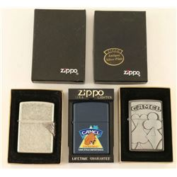 Lot of 3 Camel Zippo Lighters