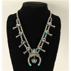 Small Sterling & Turquoise Squash Blossom