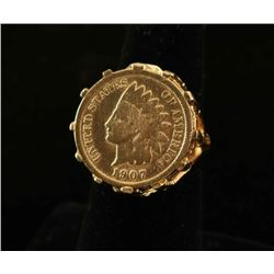 1907 1cent Coin Ring