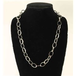 Onyx Inlaid Silver Link Necklace