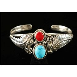 Sterling, Coral & Turquoise Ladies Bracelet