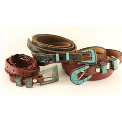 Lot of 3 Turquoise Inlaid Buckles with Belts