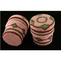 Ute/Paiute Indian Pair of Beaded Jars