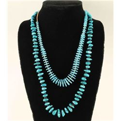 Lot of 2 Turquoise Heishi Necklaces