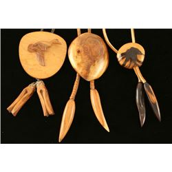 Lot of 3 Wood Carved Bolo Ties