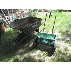 Wheel Barrow and Lawn Fertilizer spreader