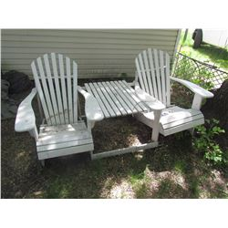 2 seat aderondac wooden patio chair