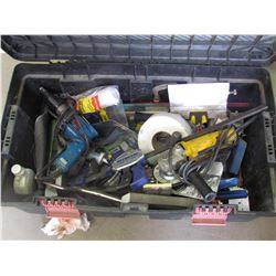 BOX OF VARIOS TOOLS, DRILL, SIDE GRINDER, QUIP GRIP, VICE CLAMPS, MISC