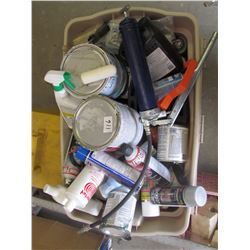 TOTE OF MISC PAINT, SPRAY PAINT, GREASE GUN, QUICK GRIP, CLAMPS, MISC