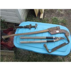 MISC VINTAGE HAND TOOLS FOR LOG/BUSH WORK, BRANCH CUTTER