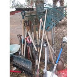 LOT OF MISC YARD TOOLS, SHOVELS, RAKES, HOES, FORKS, SNOW SHOVELS
