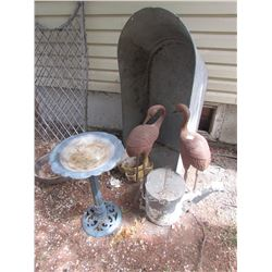 ANTIQUE GALVANIZED BATH TUB, ANTIQUE CABOOSE WATER CAN, 2 IRON CRANE STATUES, BIRD BATH