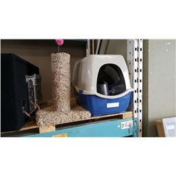 PET CARRIER W/ ACCESSORIES AND CAT POST