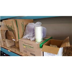 LOT OF BIODEGRADABLE FOOD CONTAINERS AND LIDS