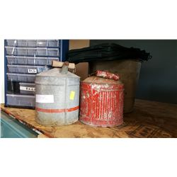METAL PAILS AND ATLANTIC TRAVEL BAG AND 2 METAL GAS CANS