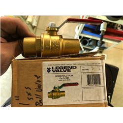 "NEW Legend 101-045 1"" Brass Ball Valve With Copper Solder Ends (CXC)"