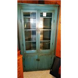 Antique Blue Corner Cupboard Est: 1800's