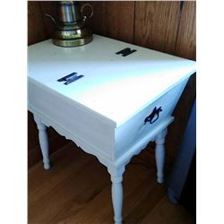 White Wood Sewing Box Stand