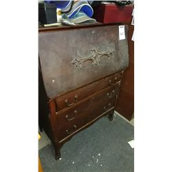 Antique Drop Front Desk, Over 3 Drawers