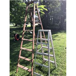 Pair of Step Ladders, One Wooden, One Aluminum