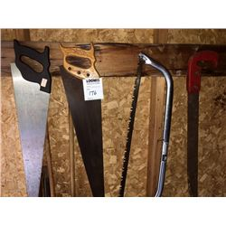 BUNDLE LOT: Misc. Hand Saws, John Deere Blades, Misc. Work Gloves
