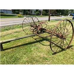 Antique Wheel Driven Steel Hay Rake