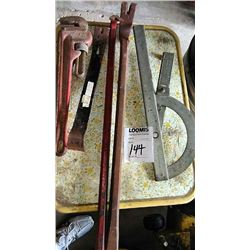 2 Nail Pullers, Pipe Wrench, Angle Measure