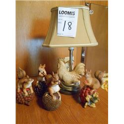 Rooster Lamp, Poly Squirrel Figurines