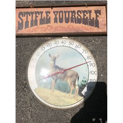 BUNDLE LOT:  Deer Thermometer,  Sign, Memo Board, Water Bench, Rod Iron