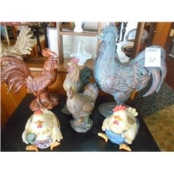 6 Piece Rooster Lot