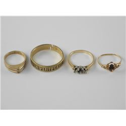 Lot (4) Estate 10-14kt Gold Ring Mounts