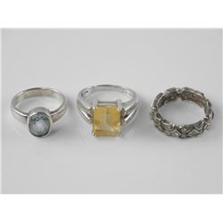 3x Estate 925 Sterling Silver Gemstone Rings