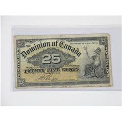 1900 Dominion of Canada - 25 Cent 'Boville' (VG)